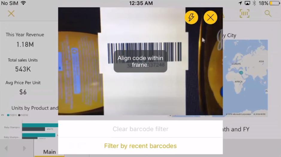 Сканер штрих-кода для приложения Power BI